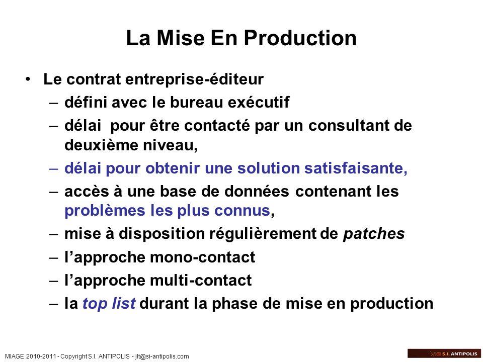 MIAGE 2010-2011 - Copyright S.I. ANTIPOLIS - jlt@si-antipolis.com La Mise En Production Le contrat entreprise-éditeur –défini avec le bureau exécutif