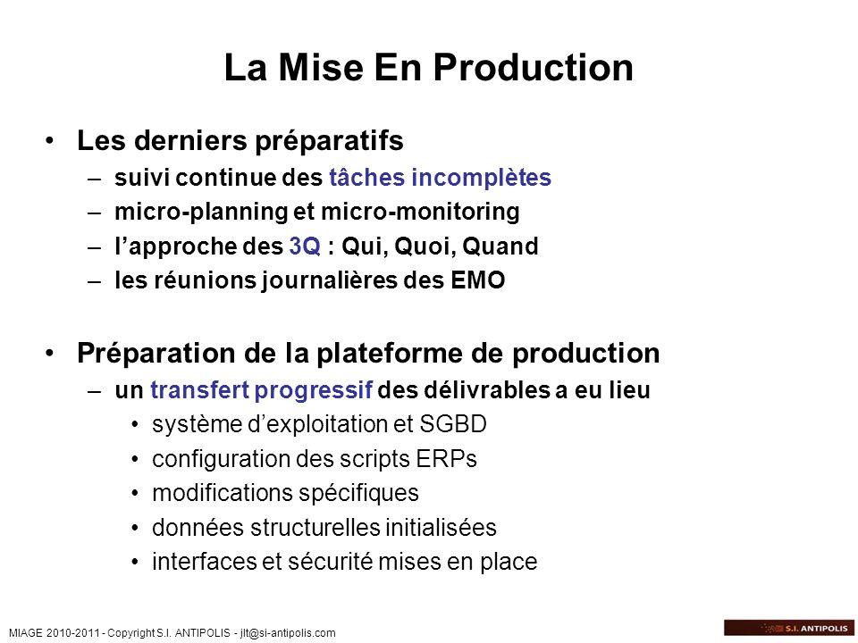 MIAGE 2010-2011 - Copyright S.I. ANTIPOLIS - jlt@si-antipolis.com La Mise En Production Les derniers préparatifs –suivi continue des tâches incomplète