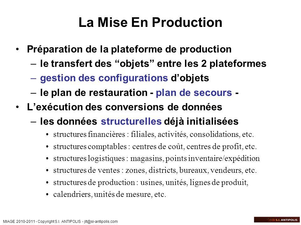MIAGE 2010-2011 - Copyright S.I. ANTIPOLIS - jlt@si-antipolis.com La Mise En Production Préparation de la plateforme de production –le transfert des o