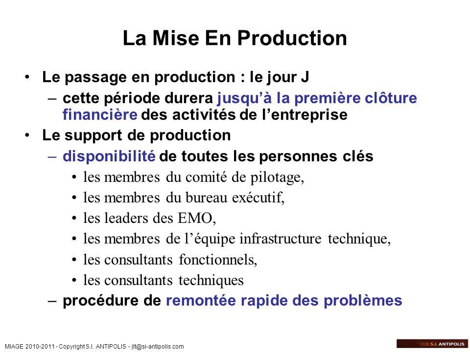 MIAGE 2010-2011 - Copyright S.I. ANTIPOLIS - jlt@si-antipolis.com La Mise En Production Le passage en production : le jour J –cette période durera jus