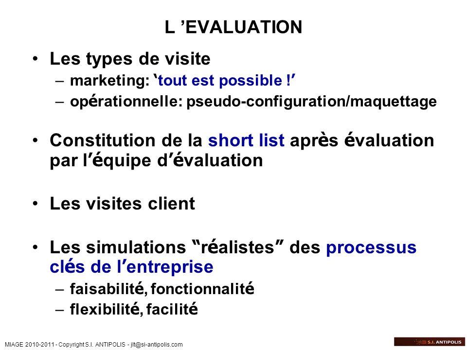 MIAGE 2010-2011 - Copyright S.I. ANTIPOLIS - jlt@si-antipolis.com L EVALUATION Les types de visite –marketing: tout est possible ! –op é rationnelle:
