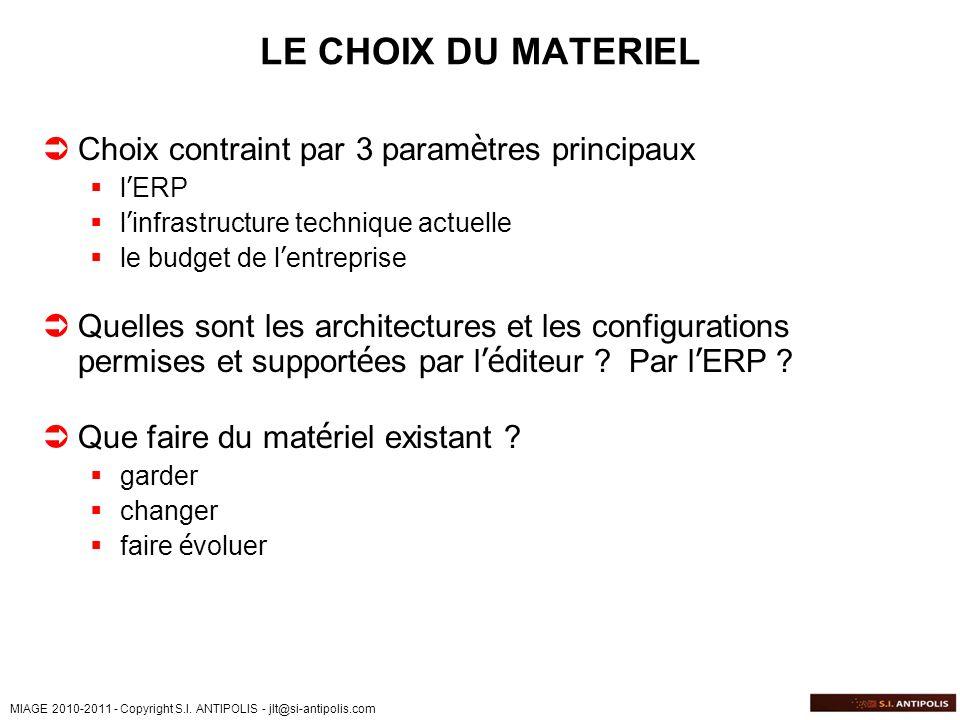 MIAGE 2010-2011 - Copyright S.I. ANTIPOLIS - jlt@si-antipolis.com LE CHOIX DU MATERIEL Choix contraint par 3 param è tres principaux l ERP l infrastru