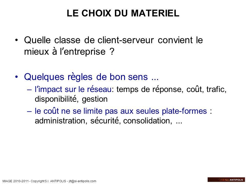 MIAGE 2010-2011 - Copyright S.I. ANTIPOLIS - jlt@si-antipolis.com LE CHOIX DU MATERIEL Quelle classe de client-serveur convient le mieux à l entrepris