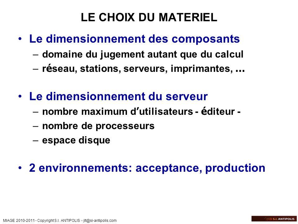 MIAGE 2010-2011 - Copyright S.I. ANTIPOLIS - jlt@si-antipolis.com LE CHOIX DU MATERIEL Le dimensionnement des composants –domaine du jugement autant q