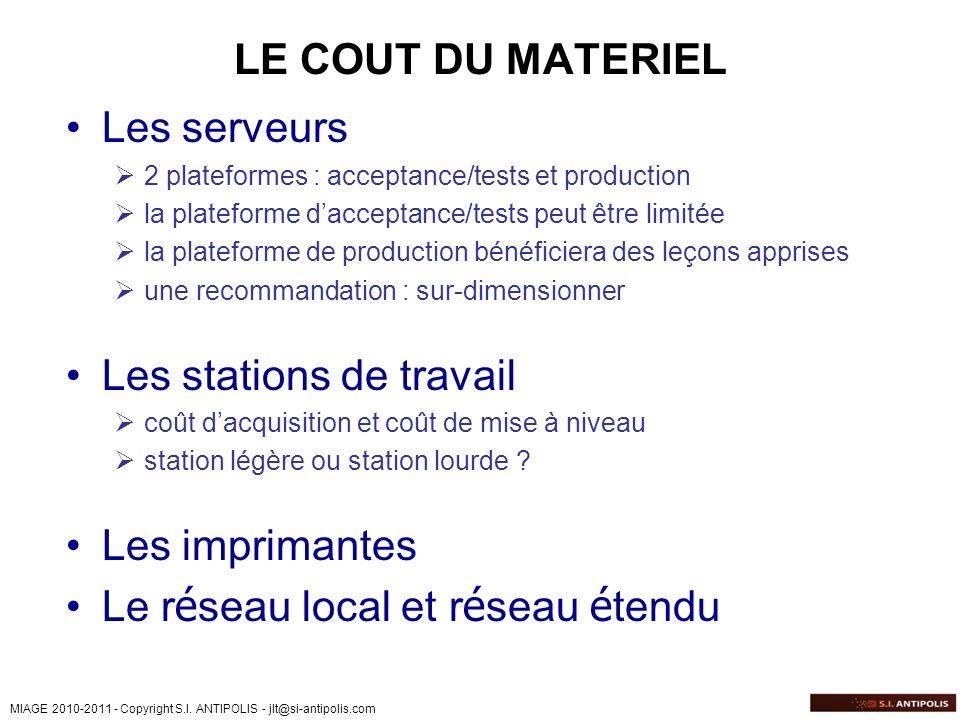 MIAGE 2010-2011 - Copyright S.I. ANTIPOLIS - jlt@si-antipolis.com LE COUT DU MATERIEL Les serveurs 2 plateformes : acceptance/tests et production la p