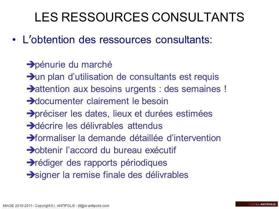 MIAGE 2010-2011 - Copyright S.I. ANTIPOLIS - jlt@si-antipolis.com LES RESSOURCES CONSULTANTS L obtention des ressources consultants: pénurie du marché