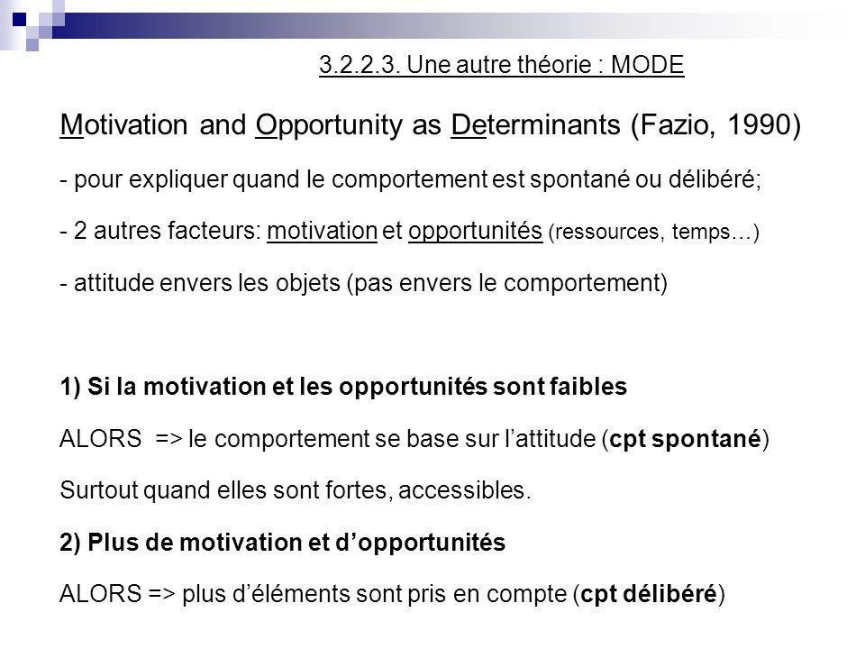 3.2.2.3. Une autre théorie : MODE Motivation and Opportunity as Determinants (Fazio, 1990) - pour expliquer quand le comportement est spontané ou déli