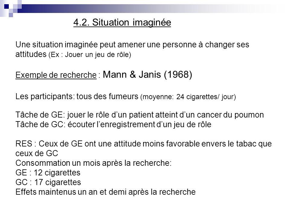 4.2. Situation imaginée Une situation imaginée peut amener une personne à changer ses attitudes (Ex : Jouer un jeu de rôle) Exemple de recherche : Man