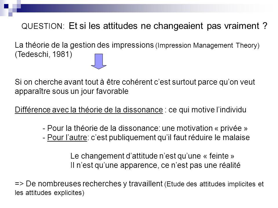 QUESTION: Et si les attitudes ne changeaient pas vraiment ? La théorie de la gestion des impressions (Impression Management Theory) (Tedeschi, 1981) S