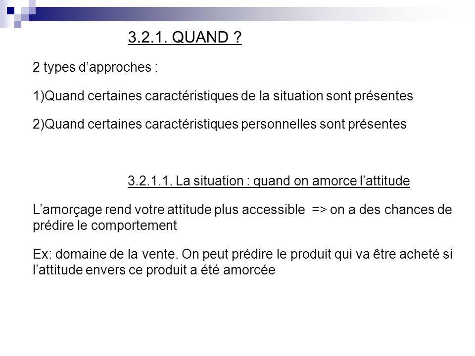 3.2.1. QUAND ? 2 types dapproches : 1)Quand certaines caractéristiques de la situation sont présentes 2)Quand certaines caractéristiques personnelles