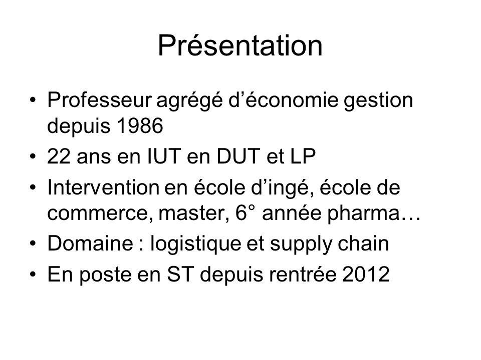 Présentation Professeur agrégé déconomie gestion depuis 1986 22 ans en IUT en DUT et LP Intervention en école dingé, école de commerce, master, 6° ann