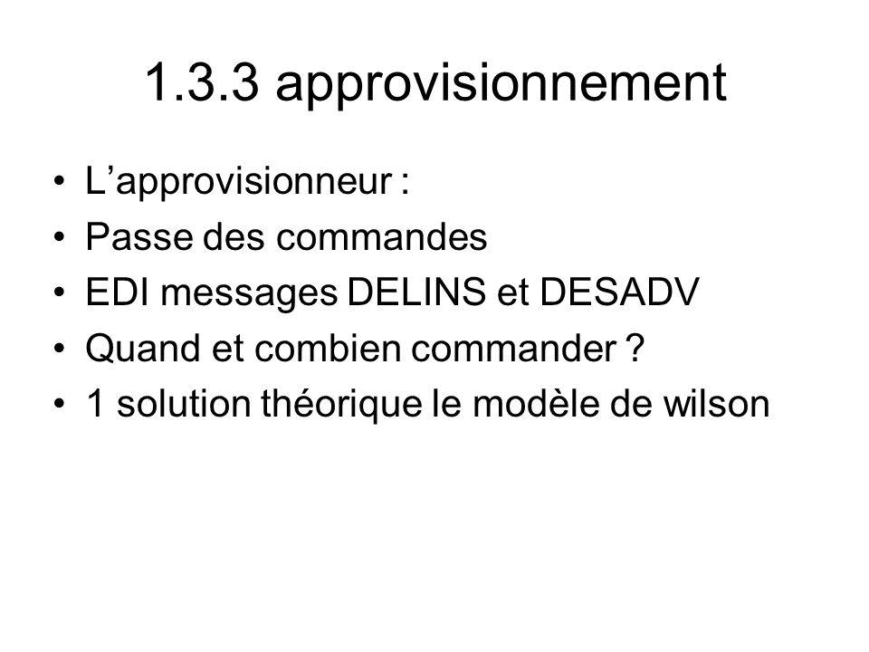 1.3.3 approvisionnement Lapprovisionneur : Passe des commandes EDI messages DELINS et DESADV Quand et combien commander ? 1 solution théorique le modè