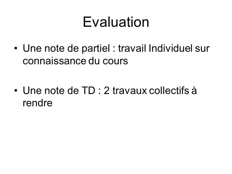Evaluation Une note de partiel : travail Individuel sur connaissance du cours Une note de TD : 2 travaux collectifs à rendre