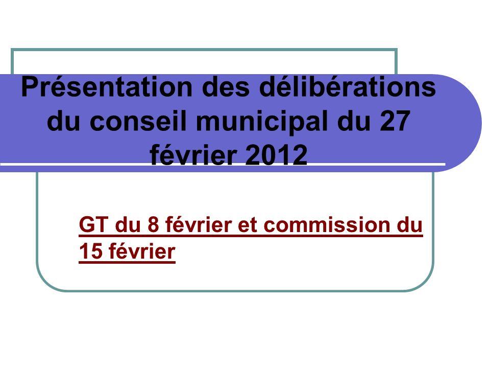 Présentation des délibérations du conseil municipal du 27 février 2012 GT du 8 février et commission du 15 février