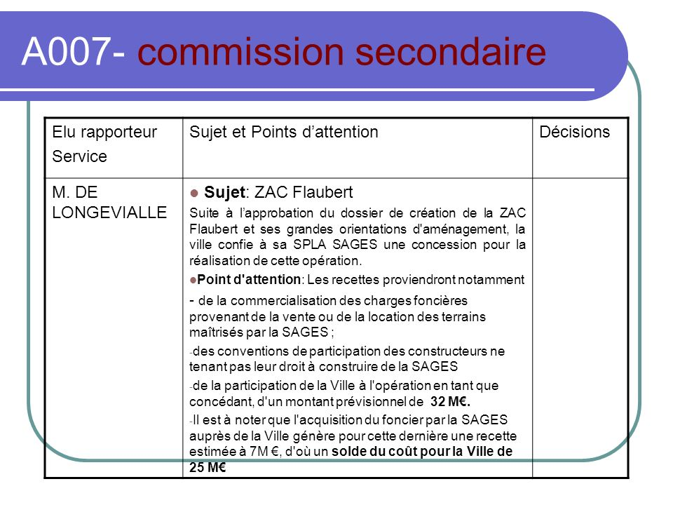 A007- commission secondaire Elu rapporteur Service Sujet et Points dattentionDécisions M.