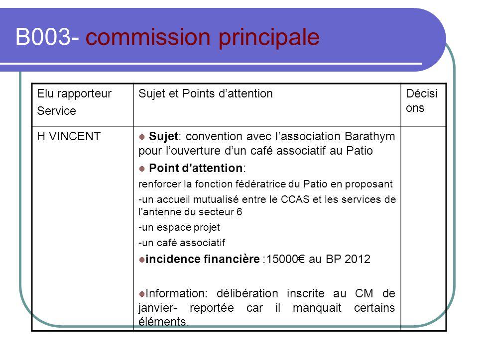 B003- commission principale Elu rapporteur Service Sujet et Points dattentionDécisi ons H VINCENT Sujet: convention avec lassociation Barathym pour lo