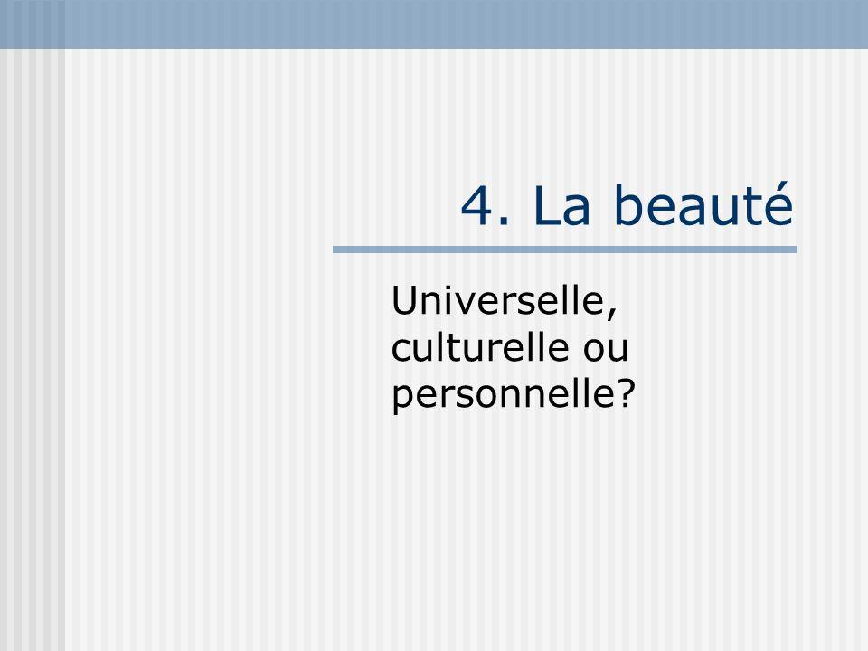 4. La beauté Universelle, culturelle ou personnelle?