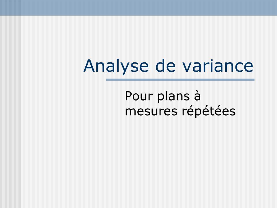 Analyse de variance Pour plans à mesures répétées
