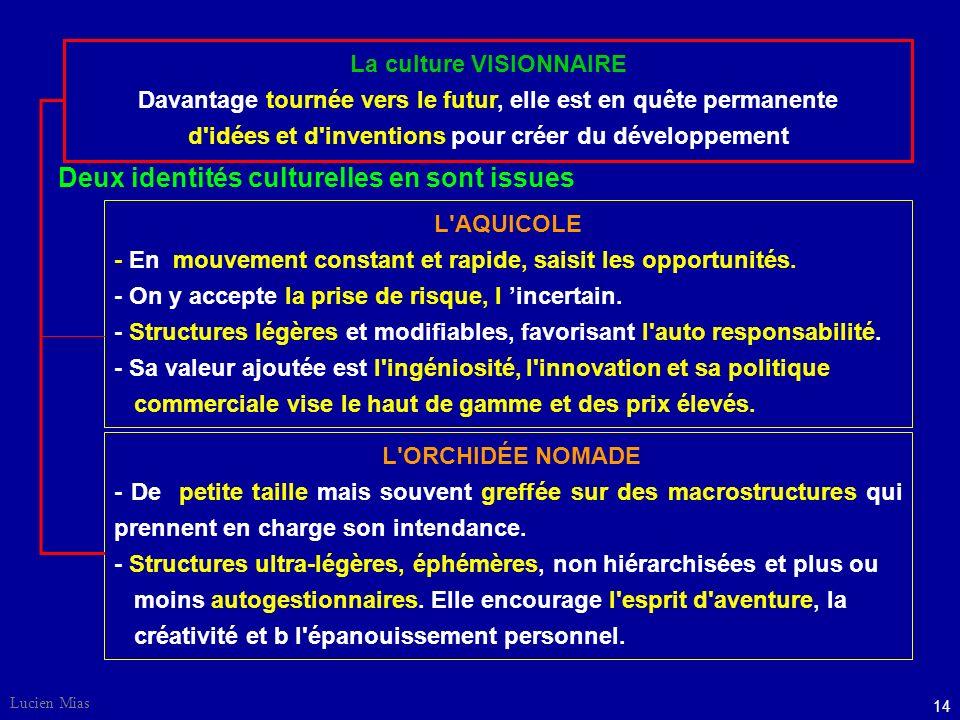 13 Lucien Mias La culture ADAPTATIVE Souple, ouverte et participative, s'adapte à l'environnement et cherche à se rapprocher du client. Préfère le tra