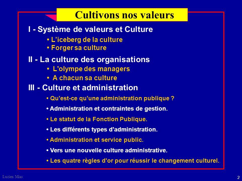 2 Lucien Mias I - Système de valeurs et Culture II - La culture des organisations III - Culture et administration Qu est-ce qu une administration publique .