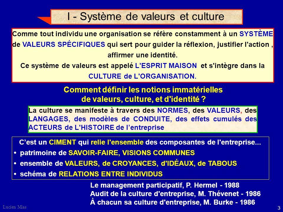 3 Lucien Mias I - Système de valeurs et culture Comme tout individu une organisation se réfère constamment à un SYSTÈME de VALEURS SPÉCIFIQUES qui sert pour guider la réflexion, justifier l action, affirmer une identité.