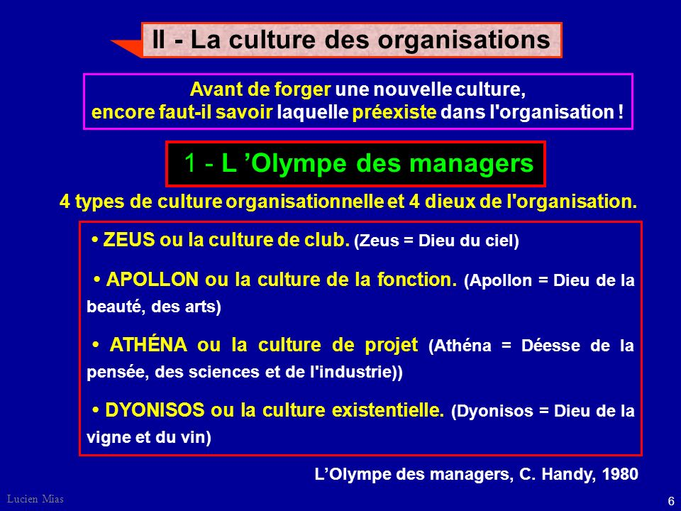 6 Lucien Mias II - La culture des organisations Avant de forger une nouvelle culture, encore faut-il savoir laquelle préexiste dans l organisation .