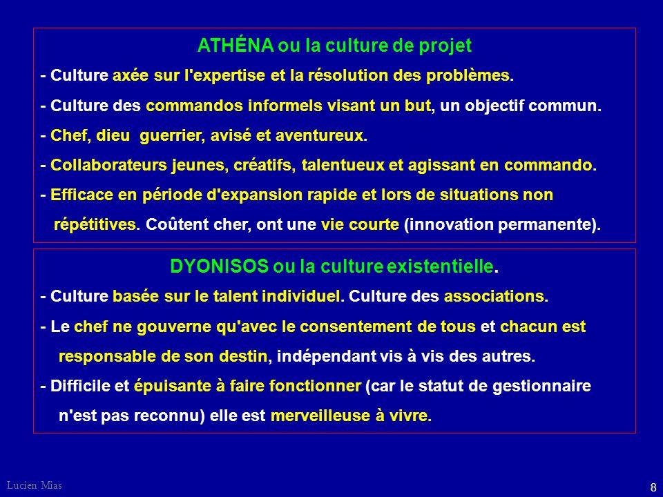 8 Lucien Mias ATHÉNA ou la culture de projet - Culture axée sur l expertise et la résolution des problèmes.