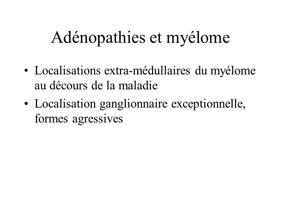 Adénopathies et amylose Rarement isolées et révélatrices Registre de Kiel : 10 cas/ 40 000 biopsies Séries autopsiques : localisations ganglionnaires dans 17 à 37% des amyloses Souvent associées MGUS, lymphomes, isolées Pas de cas damylose ganglionnaire révélatrice dun myélome