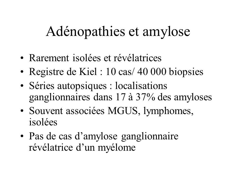 Adénopathies et amylose Rarement isolées et révélatrices Registre de Kiel : 10 cas/ 40 000 biopsies Séries autopsiques : localisations ganglionnaires