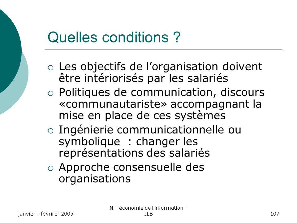 janvier - févrirer 2005 N - économie de l information - JLB107 Quelles conditions .