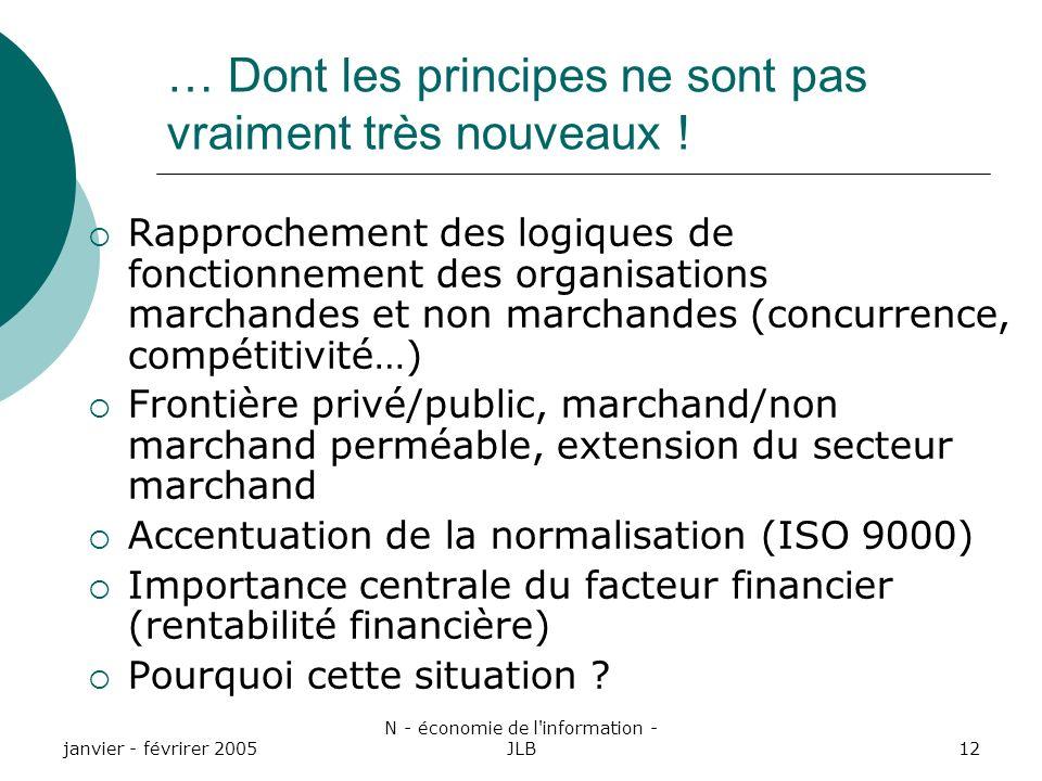 janvier - févrirer 2005 N - économie de l information - JLB12 … Dont les principes ne sont pas vraiment très nouveaux .