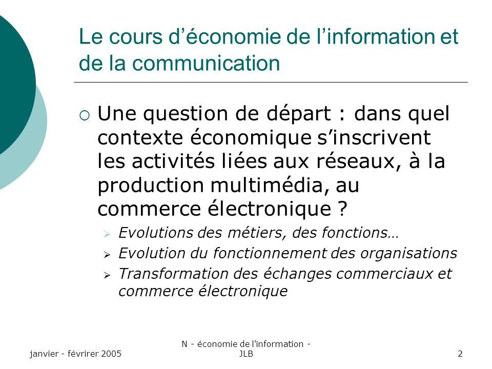 janvier - févrirer 2005 N - économie de l information - JLB2 Le cours déconomie de linformation et de la communication Une question de départ : dans quel contexte économique sinscrivent les activités liées aux réseaux, à la production multimédia, au commerce électronique .