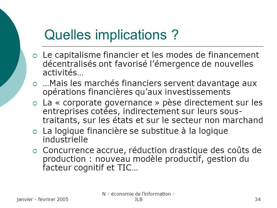 janvier - févrirer 2005 N - économie de l information - JLB34 Quelles implications .