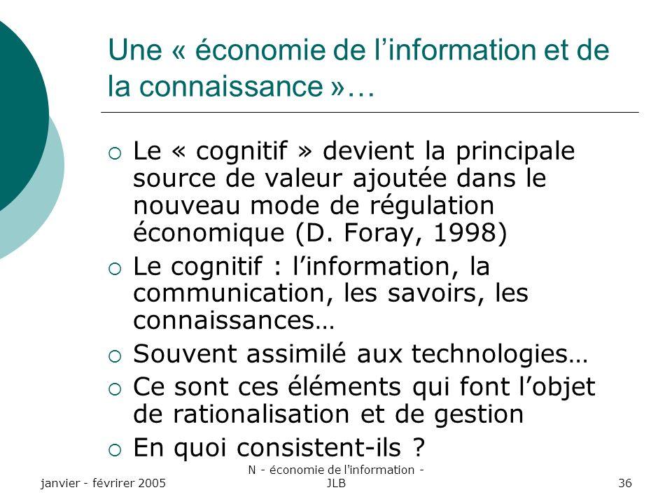 janvier - févrirer 2005 N - économie de l information - JLB36 Une « économie de linformation et de la connaissance »… Le « cognitif » devient la principale source de valeur ajoutée dans le nouveau mode de régulation économique (D.