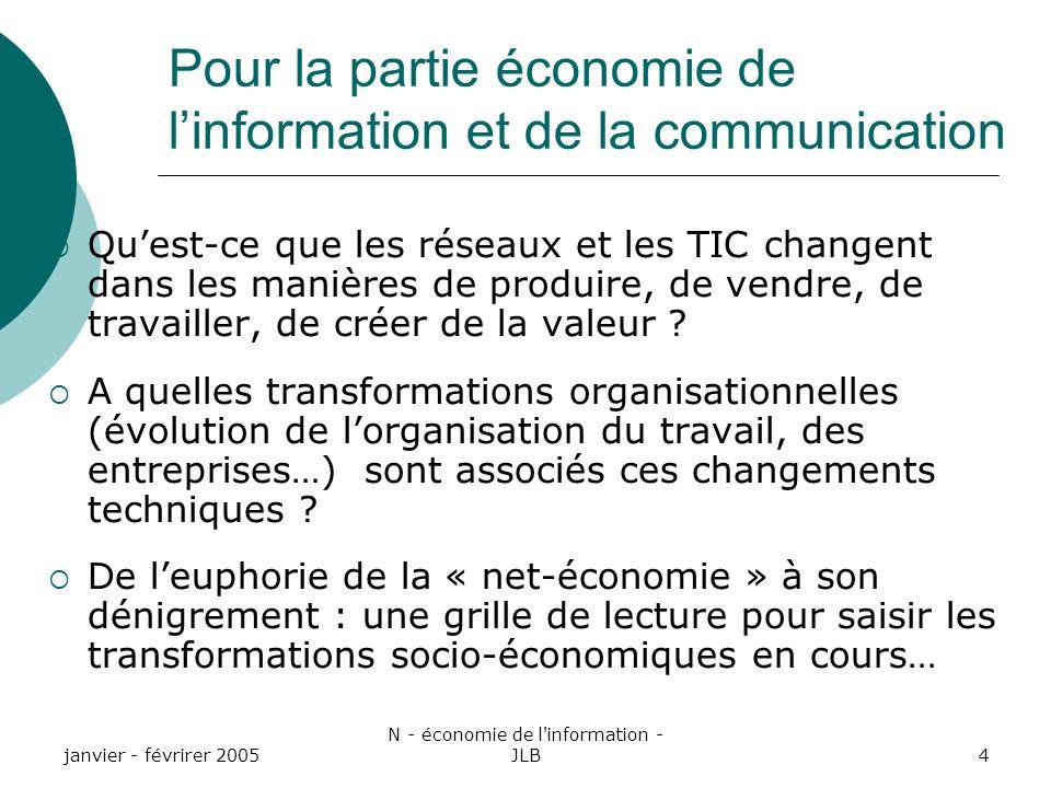 janvier - févrirer 2005 N - économie de l information - JLB4 Quest-ce que les réseaux et les TIC changent dans les manières de produire, de vendre, de travailler, de créer de la valeur .