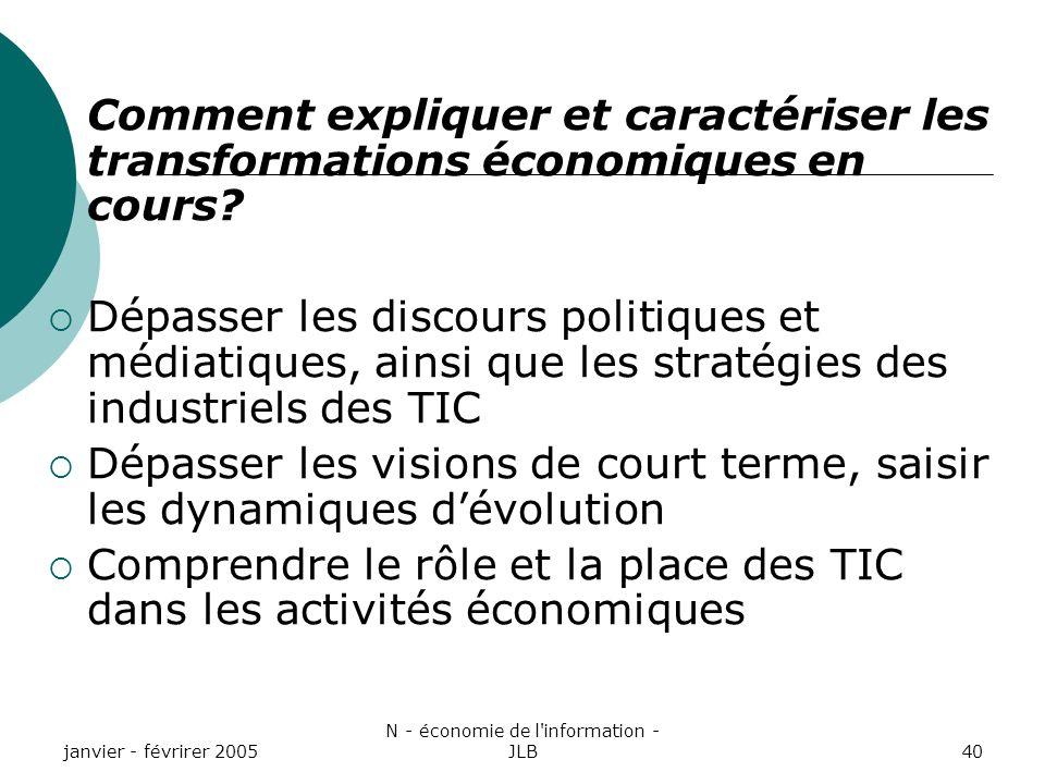 janvier - févrirer 2005 N - économie de l information - JLB40 Comment expliquer et caractériser les transformations économiques en cours.