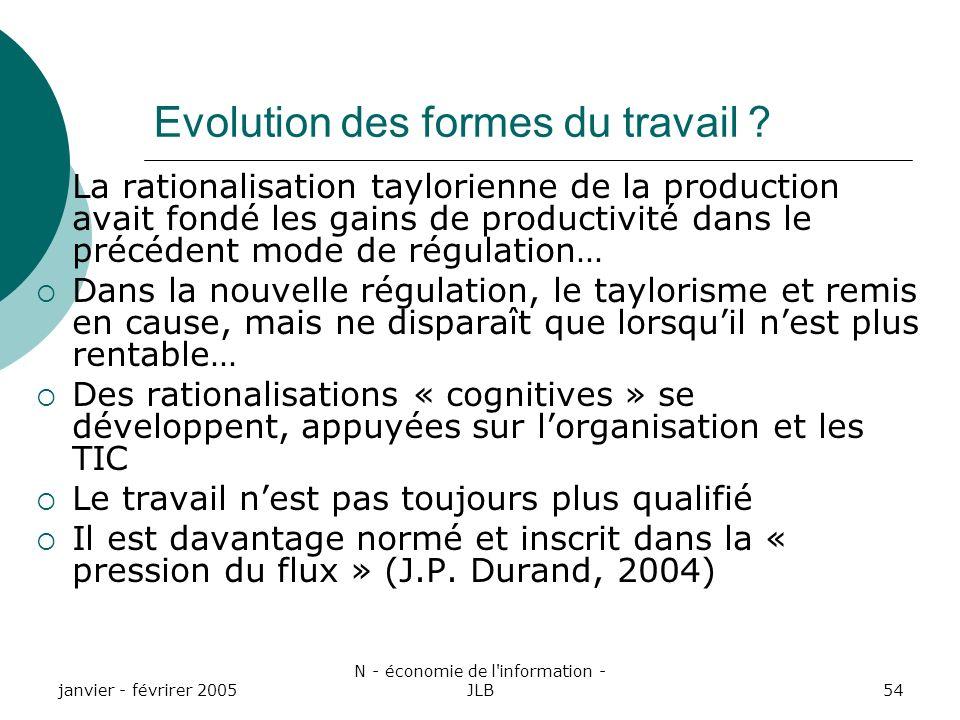 janvier - févrirer 2005 N - économie de l information - JLB54 Evolution des formes du travail .