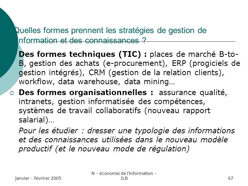janvier - févrirer 2005 N - économie de l information - JLB67 Quelles formes prennent les stratégies de gestion de linformation et des connaissances .