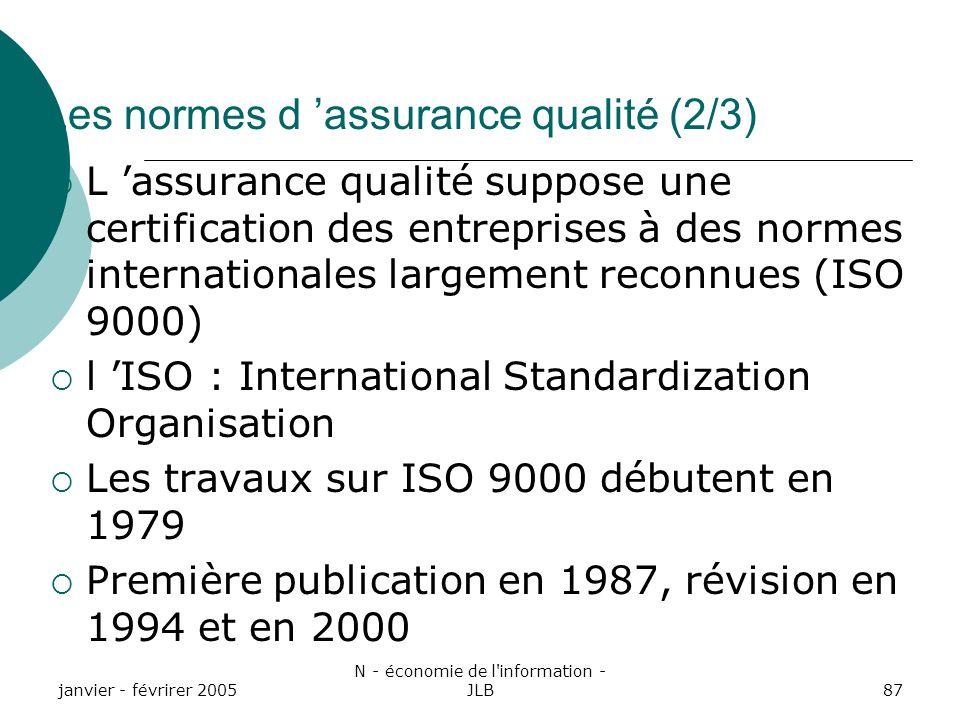 janvier - févrirer 2005 N - économie de l information - JLB87 Les normes d assurance qualité (2/3) L assurance qualité suppose une certification des entreprises à des normes internationales largement reconnues (ISO 9000) l ISO : International Standardization Organisation Les travaux sur ISO 9000 débutent en 1979 Première publication en 1987, révision en 1994 et en 2000