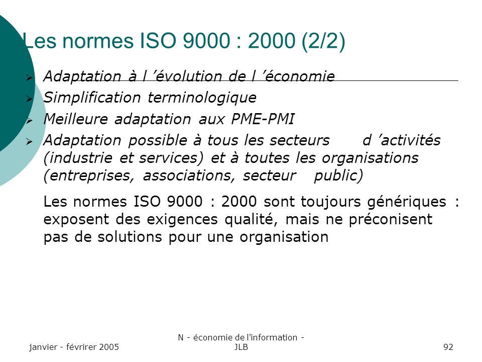 janvier - févrirer 2005 N - économie de l information - JLB92 Les normes ISO 9000 : 2000 (2/2) Adaptation à l évolution de l économie Simplification terminologique Meilleure adaptation aux PME-PMI Adaptation possible à tous les secteurs d activités (industrie et services) et à toutes les organisations (entreprises, associations, secteur public) Les normes ISO 9000 : 2000 sont toujours génériques : exposent des exigences qualité, mais ne préconisent pas de solutions pour une organisation