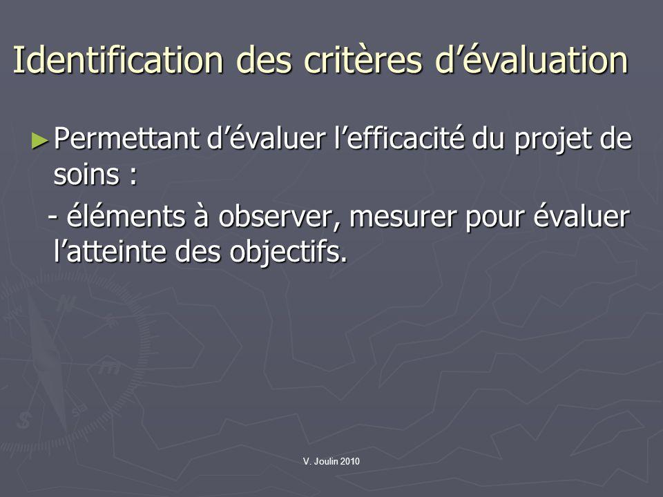 V. Joulin 2010 Identification des critères dévaluation Permettant dévaluer lefficacité du projet de soins : Permettant dévaluer lefficacité du projet