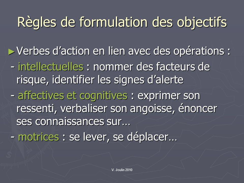 V. Joulin 2010 Règles de formulation des objectifs Verbes daction en lien avec des opérations : Verbes daction en lien avec des opérations : - intelle