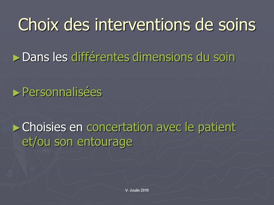 V. Joulin 2010 Choix des interventions de soins Dans les différentes dimensions du soin Dans les différentes dimensions du soin Personnalisées Personn