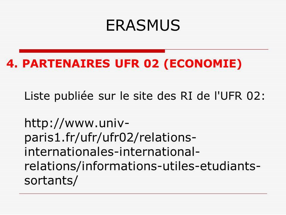 ERASMUS 4. PARTENAIRES UFR 02 (ECONOMIE) Liste publiée sur le site des RI de l'UFR 02: http://www.univ- paris1.fr/ufr/ufr02/relations- internationales
