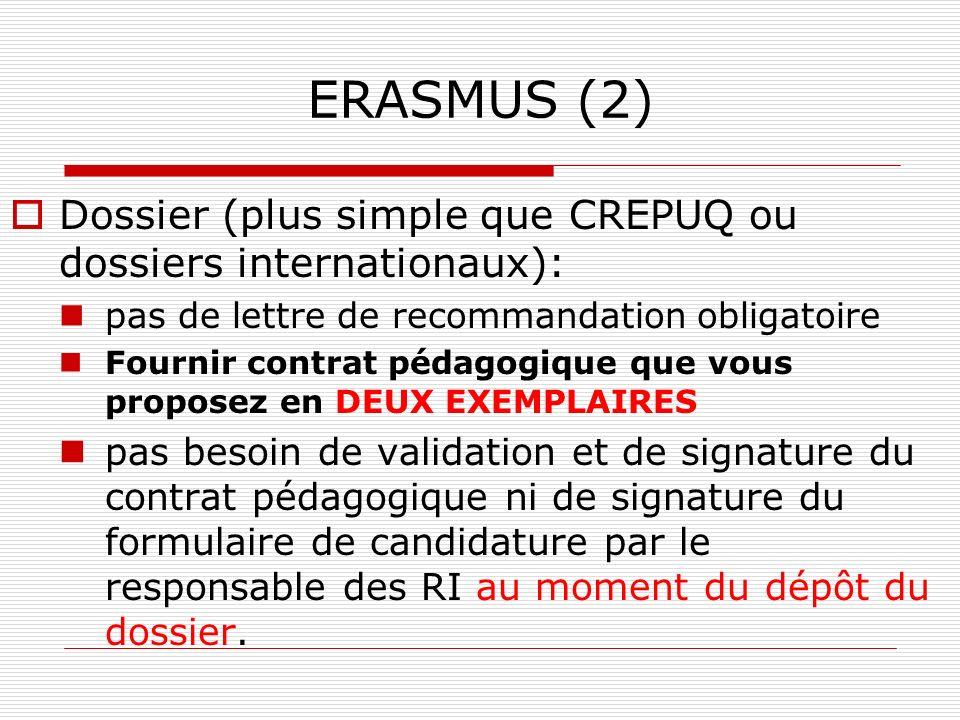 ERASMUS (2) Dossier (plus simple que CREPUQ ou dossiers internationaux): pas de lettre de recommandation obligatoire Fournir contrat pédagogique que v