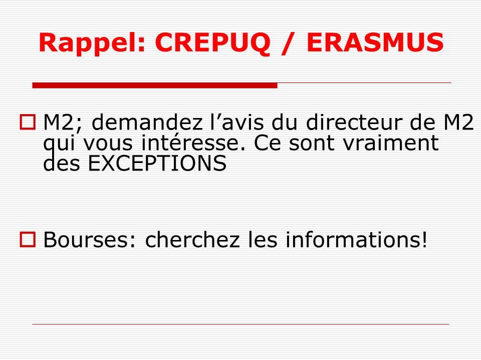Rappel: CREPUQ / ERASMUS M2; demandez lavis du directeur de M2 qui vous intéresse. Ce sont vraiment des EXCEPTIONS Bourses: cherchez les informations!