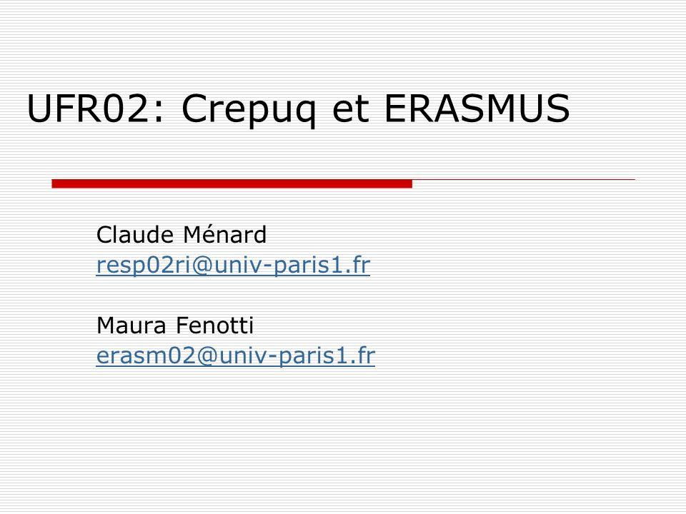 UFR02: Crepuq et ERASMUS Claude Ménard resp02ri@univ-paris1.fr Maura Fenotti erasm02@univ-paris1.fr