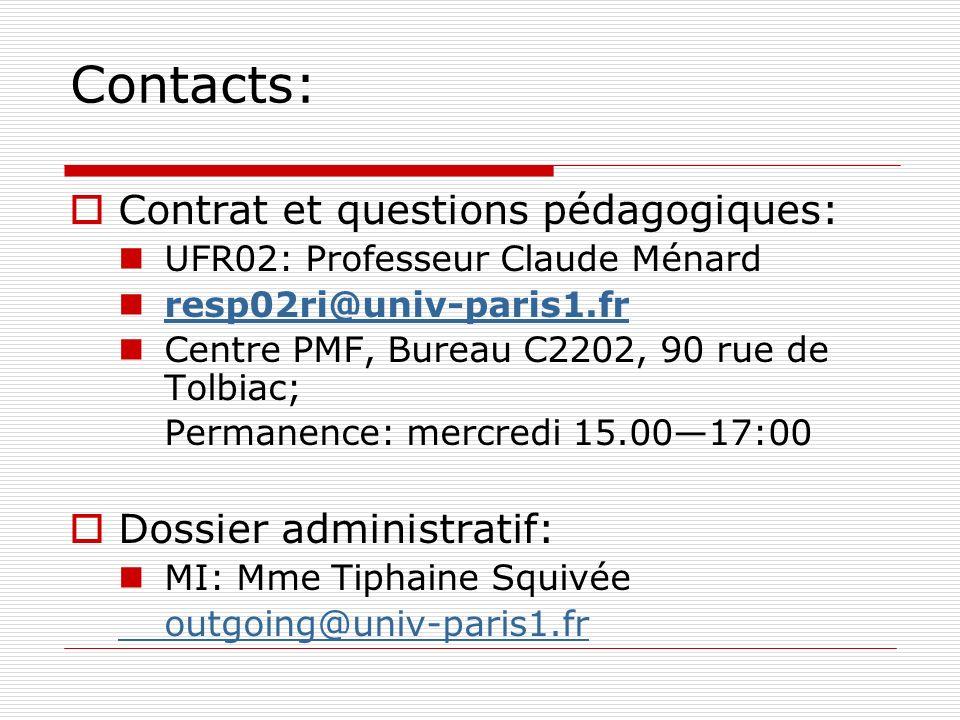 Contacts: Contrat et questions pédagogiques: UFR02: Professeur Claude Ménard resp02ri@univ-paris1.fr Centre PMF, Bureau C2202, 90 rue de Tolbiac; Perm