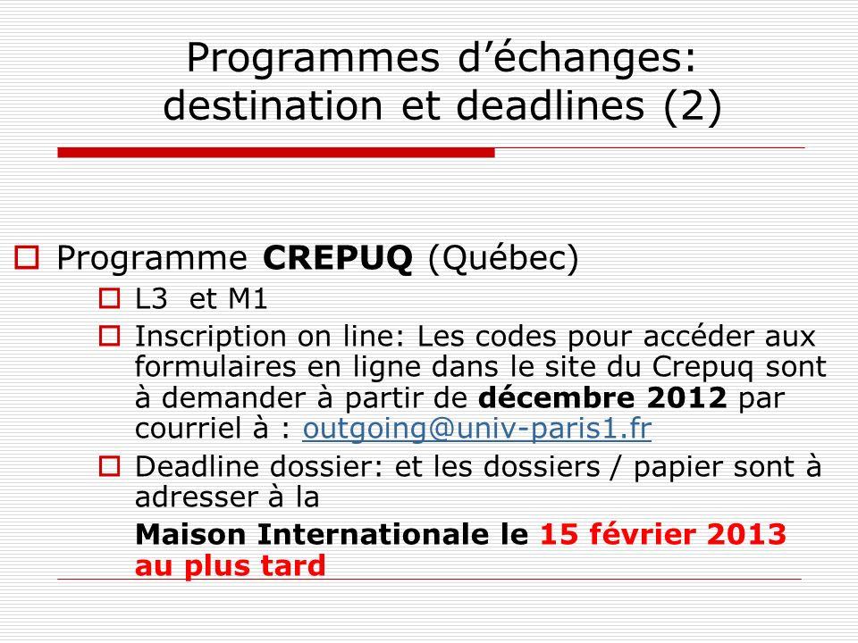 Programmes déchanges: destination et deadlines (3) Programme ERASMUS (Europe) L3 et M1: un semestre ou année (en fonction de la destination) Deadline dossier:les dossiers de candidature sont à retourner au BUREAU ERASMUS de la MAISON INTERNATIONALE (58 Bd Arago – 75013 Paris) au plus tard le 8 MARS 2013 Aucune restriction de nationalité