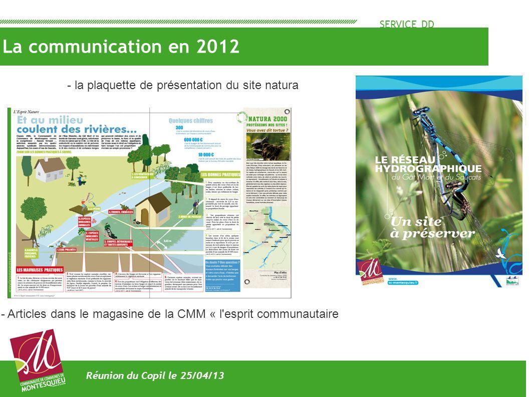 SERVICE DD La communication en 2012 Réunion du Copil le 25/04/13 - Articles dans le magasine de la CMM « l'esprit communautaire - la plaquette de prés